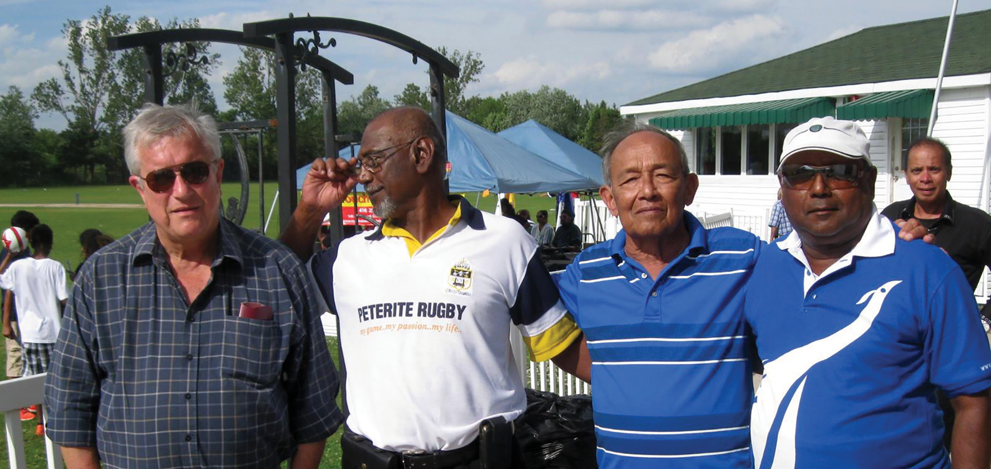 Spanning friendships … from left, David Heyn, Jeyer Rodriguesz, Dr Adiel Anghie and Upali Obeyesekere at last year's Canadian Joe-Pete 50-over encounter. Picture supplied.