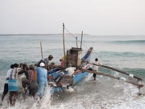 Fishermen sailing