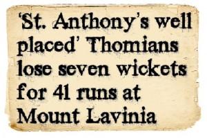 Headlines - S.Thomas' Vs St. Anthony's 1st days play 1954