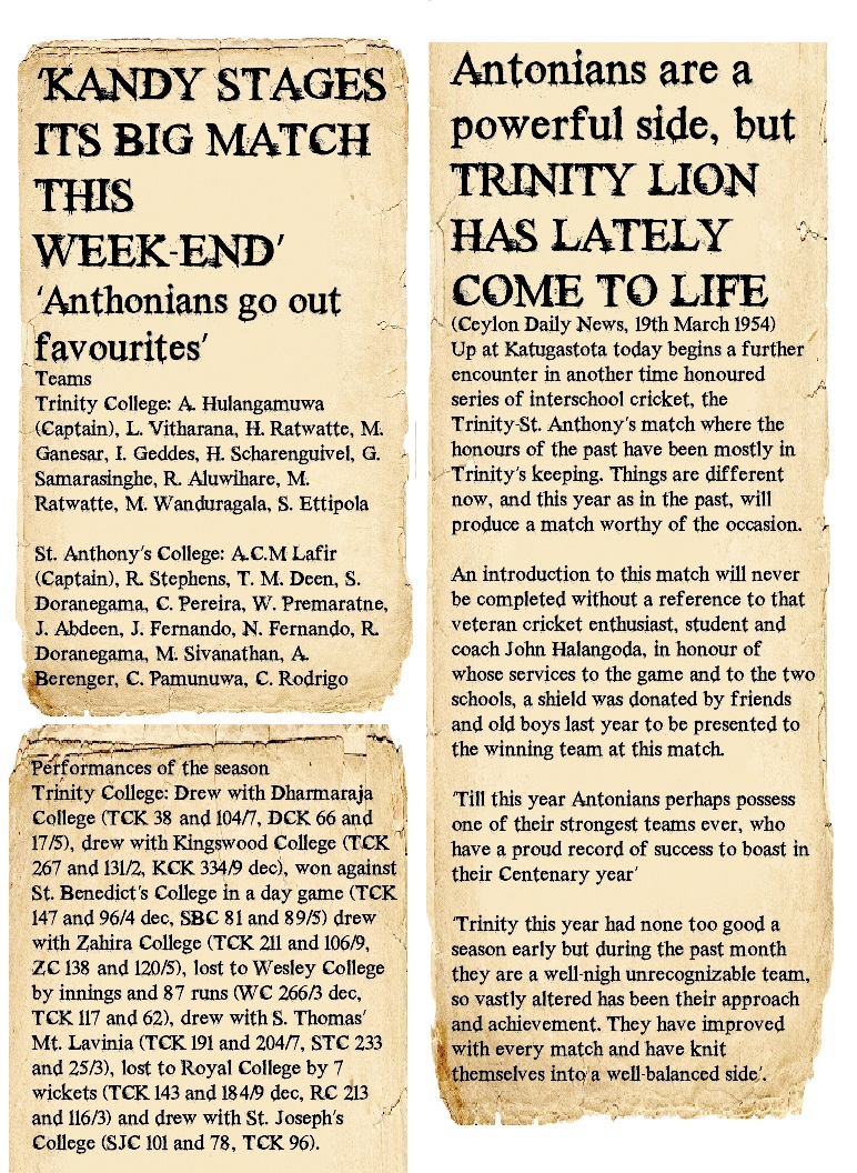 Trinity College Vs St. Anthony's College 1954 - Big Match preview