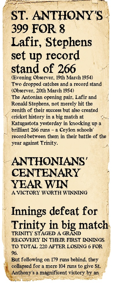 Trinity College Vs St. Anthony's College 1954 - Post Big Match newspaper headlines