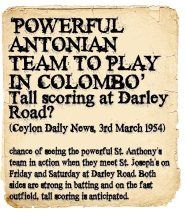 St. Joseph's Vs St. Anthony's 1954 - Ceylon Daily News
